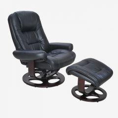 15-8021T Jacque II-Black  Leather Recliner w/ Ottoman