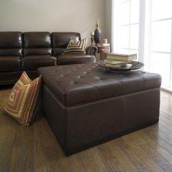 D18-Brown  Leather Ottoman w/ Storage