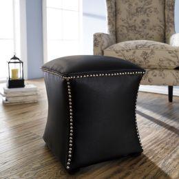 22492-Black  Leather Ottoman