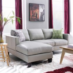 8349-Grey  Leather Sofa w/ Chaise