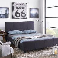 Sandton-Grey  Queen Bed w/ Wood Slats