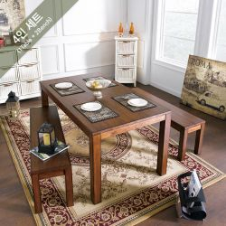 D697-4  Dining Set (1 Table + 2 Benches)