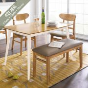 Cacao-White  Dining Set (1 Table + 2 Chairs + 1 Bench)