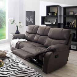 S-1707-Brown   Leather Recliner Sofa