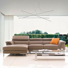PS-0062  Leather Sofa w/ Chaise