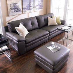 AGS037-Brown  Leather Sofa (2+2)