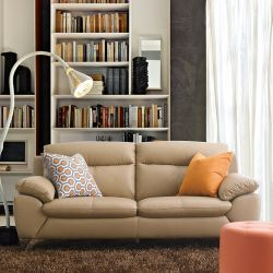 MU-10282-Nude  3-Seater Leather Sofa