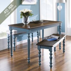 D3235-4  Dining Set (1 Table + 2 Benches)