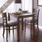 Cabin-2-Walnut  Dining Set (1 Table + 2 Chairs)