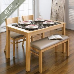 Cabin-4-Natural  Dining Set (1 Table + 2 Chairs + 1 Bench)