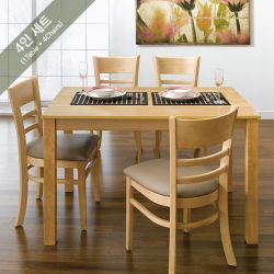 Cabin-4C-Natural  Dining Set (1 Table + 4 Chairs)