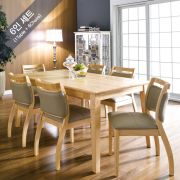 Dotori-6  Dining Set(1 Table + 6 Chairs) ~100% 원목식탁~