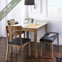 PAI-4-Walnut  Marble Dining Set (1 Table + 2 Chairs + 1 Bench)