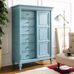 B3820-10B-BLUE  Sliding Door Chest