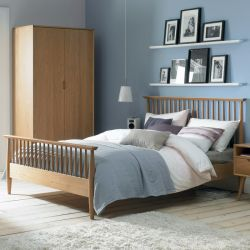 Orbit-Oak  Queen Bed w/ Slats