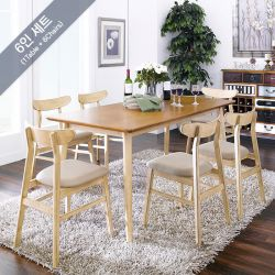 Luna-6C-Pa  Dining Set (1 Table + 6 Chairs)