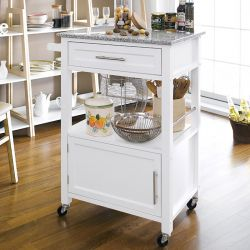 White  Kitchen Cart w/ Stone
