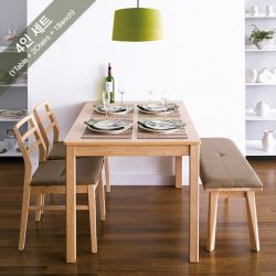 Cindy-4-Natural  Dining Set (1 Table + 2 Chairs + 1 Bench)