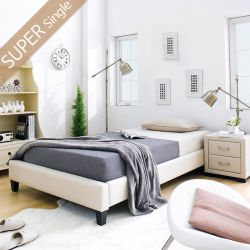 Gerda-1100-Beige  Super Single Bed w/ Wood Slats