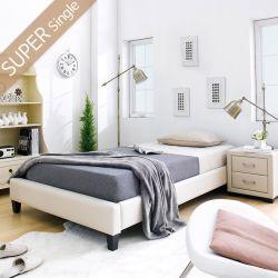 Gerda-1100-Beige  Super Single Bed w/ Wood Slats