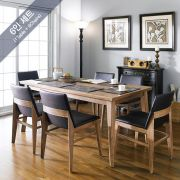 Zodax-6C-Walnut  Dining Set  (1 Table + 6 Chairs)