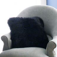 Mary Sheepskin-Black  Accent Pillow