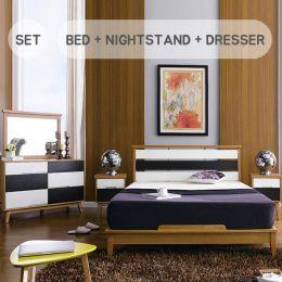 KW-Q Bed Set  Queen Bed  (침대+협탁+화장대+거울)