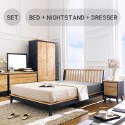 NB-Blue-Q Bed Set  Queen Bed  (침대+협탁+화장대+거울)