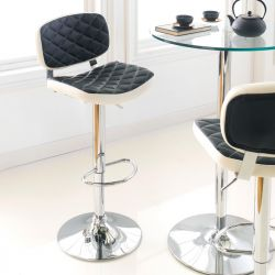 59790-Black/White  Alpini Ajustable Bar Stool