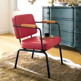 Square Back-Tan  Metal Chair
