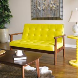 DT-1902-Yellow-PU  2-Seater Sofa