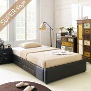 Dora-1200-Brown  Super Single Bed w/ Wood Slats