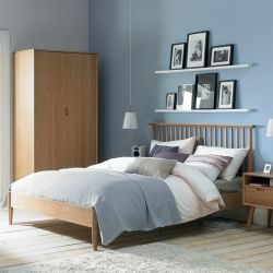 Orbit-Oak-Low Queen Bed w/ Wood Slats