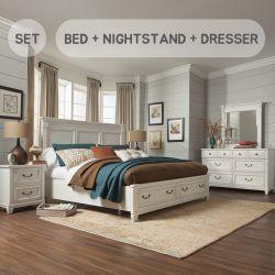 B4056  King Panel Bed w/ Storage (침대+협탁+화장대+거울)