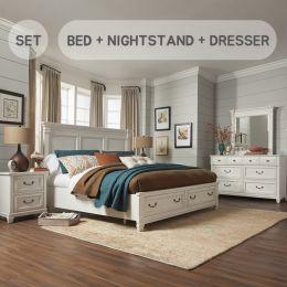 B4056-Q  Queen Panel Bed w/ Storage (침대+협탁+화장대+거울)