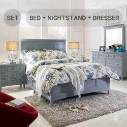 B3572 Queen Panel Bed w/ Storage  (침대+협탁+화장대+거울)