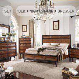 Cleo  Queen Panel Bed (침대+협탁+화장대+거울)