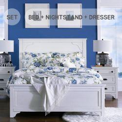 B4124  Queen Panel Bed  (침대+협탁+화장대+거울)