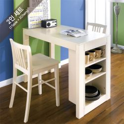 D390-2-Cream-2C  Island Dining Set  (1 Table + 2 Chairs)