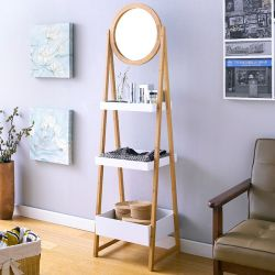 FW0861  Bamboo Storage Rack w/ Mirror