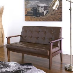 DT-1902-Coffee-PU  2-Seater Sofa