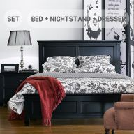 Tamarack-Black  Queen Panel Bed Set  (침대+협탁+화장대+거울)