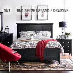 B1399  Queen Panel Bed  (NO Storage)   (침대+협탁+화장대+거울)