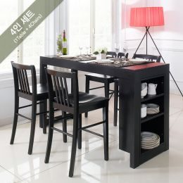 D390-4-Black-4C  Island Dining Set (1 Table + 4 Chairs)