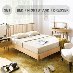 Orbit-Oak-Low  Queen Bed w/ Slats  (침대+협탁+화장대+거울+스툴)