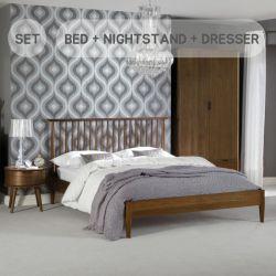 Orbit-Walnut-Low  Queen Bed w/ Slats  (침대+협탁+화장대+거울+스툴)