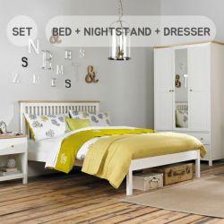 Atlanta-Two Tones Queen Bed w/ Slats  (침대+협탁+화장대+거울+스툴)