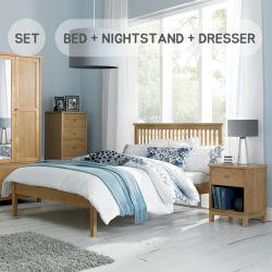 Atlanta-Oak  Queen Bed w/ Slats  (침대+협탁+화장대+거울+스툴)