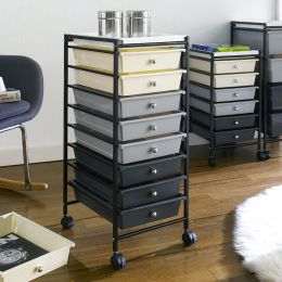 G308B-BK  8-Drawer Cart