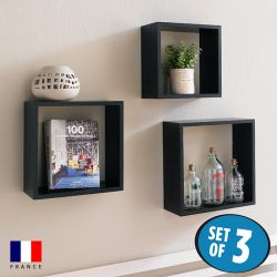 DSX3-Cube-Black  Wall Shelf
